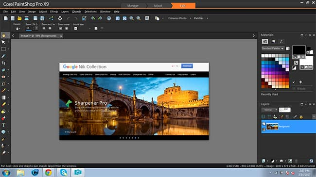Editing screenshots in paintshop pro