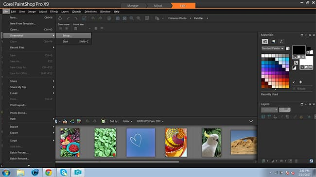 Example of taking a screenshot with PaintShop Pro